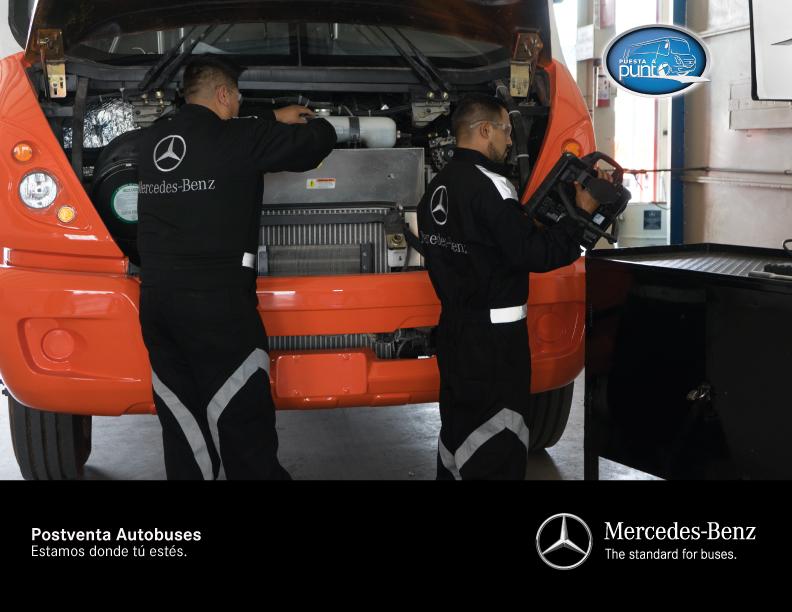 Con diversas soluciones para atender las necesidades de sus clientes, sigue firme el servicio postventa de Mercedes-Benz Autobuses para asegurar que los vehículos continúen operando diariamente en óptimas condiciones.